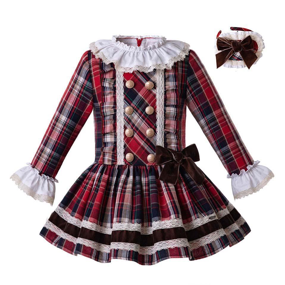 a68d1f352 Pettigirl Inglaterra Estilo Vestidos para niñas Cuadrícula Princesa Vestido  en capas Niños Boutique Ropa Primavera / Otoño Ropa para niñas ...