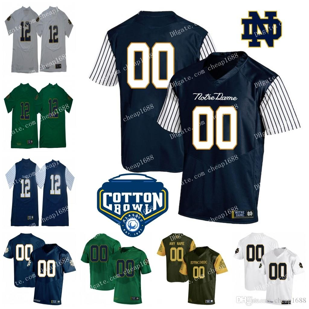 Custom Notre Dame Fighting Irish College Football NCAA Cotton Bowl Jersey  Shamrock Series  12 Ian Book 2 Dexter Williams 81 Miles Boykin UK 2019 From  ... a05c1c4f4
