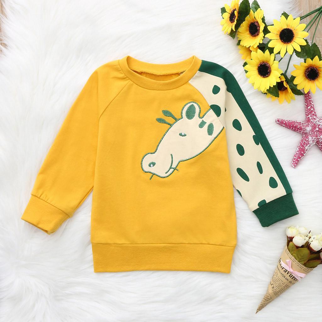 Compre Cartoon Jirafa Estampado Niño Infantil Bebé Niñas Sudadera Chicos  Tops Camiseta Trajes Animal Yellow Tops A  33.19 Del Jamani3  e20b90d0a29