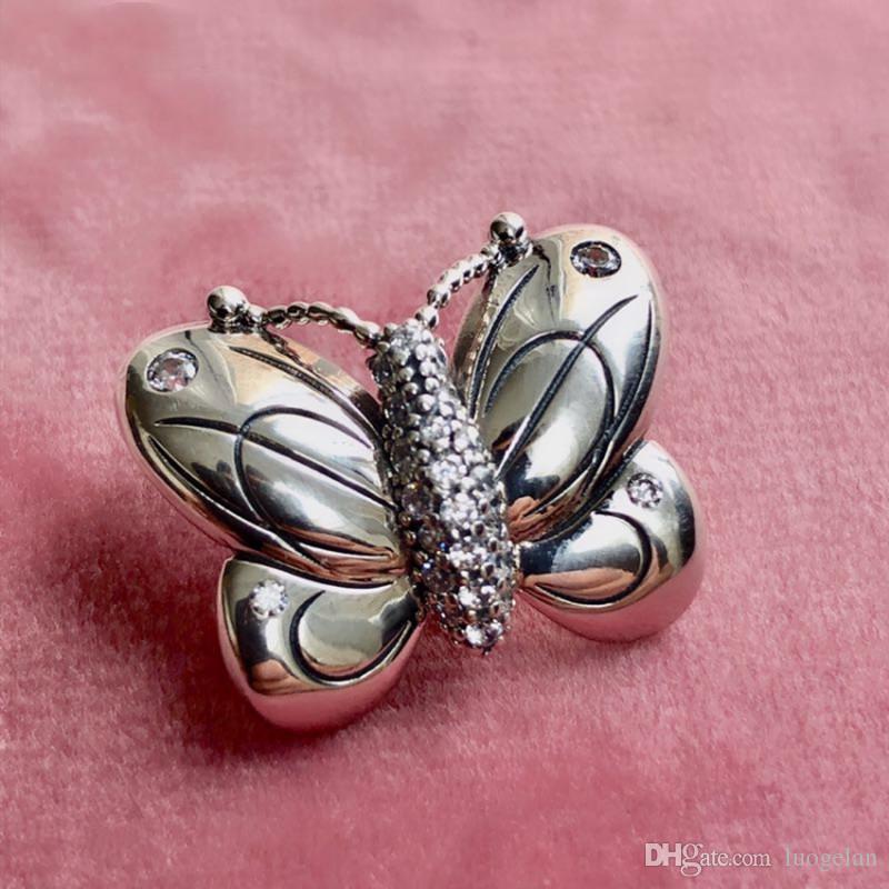 2019 Primavera 925 gioielli in argento Sterling decorativi Perline farfalla di fascino Adatto Fare Pandora collana dei braccialetti le donne fai da te