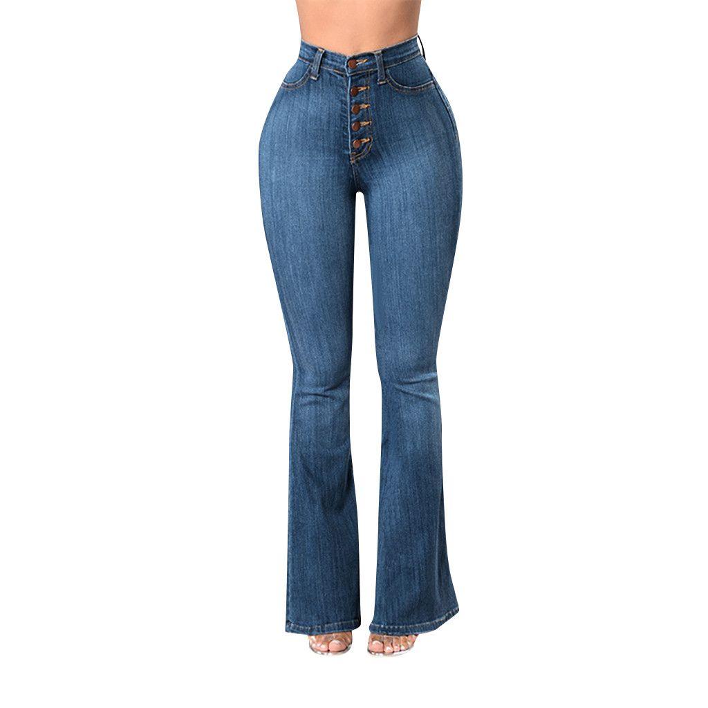 064249bce3f6 Pantalones vaqueros para mujer 2019 primavera Elastic Plus suelta Denim  bolsillo botón Casual Boot Cut Pant Pantalones vaqueros de mujer Calca ...