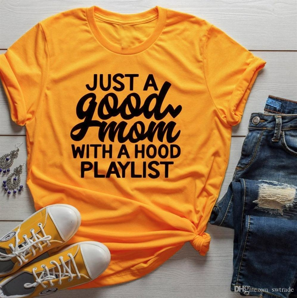 1ad08c27f Just A Good Mom With Hood Playlist T Shirt Mother Day Gift Funny Slogan  Grunge Aesthetic Women Fashion Shirt Vintage Tee Art Top #411082 Shirts And T  Shirts ...