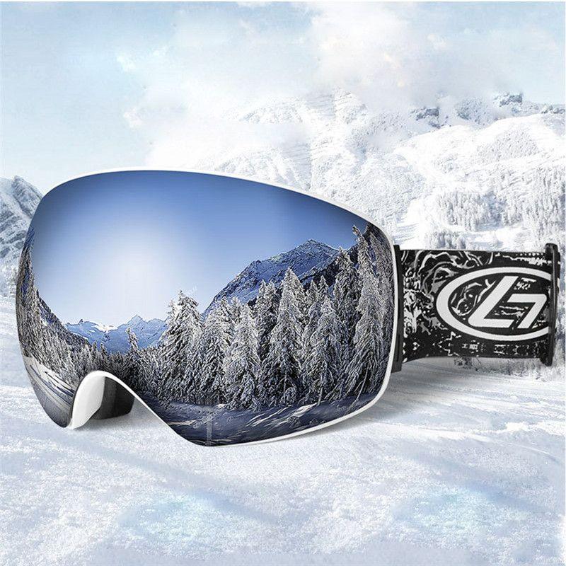 dde4d5b5876 Ski Goggles Double Layers UV400 Anti-fog Big Ski Mask Glasses Skiing ...