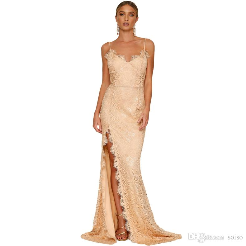 a349fa2910d08 Women Deep V-neck Party Dresses sling tube top lace Splitted Open dress  Maxi Dresses wedding dress Backless Sexy Summer Sexy Ladies Vestido