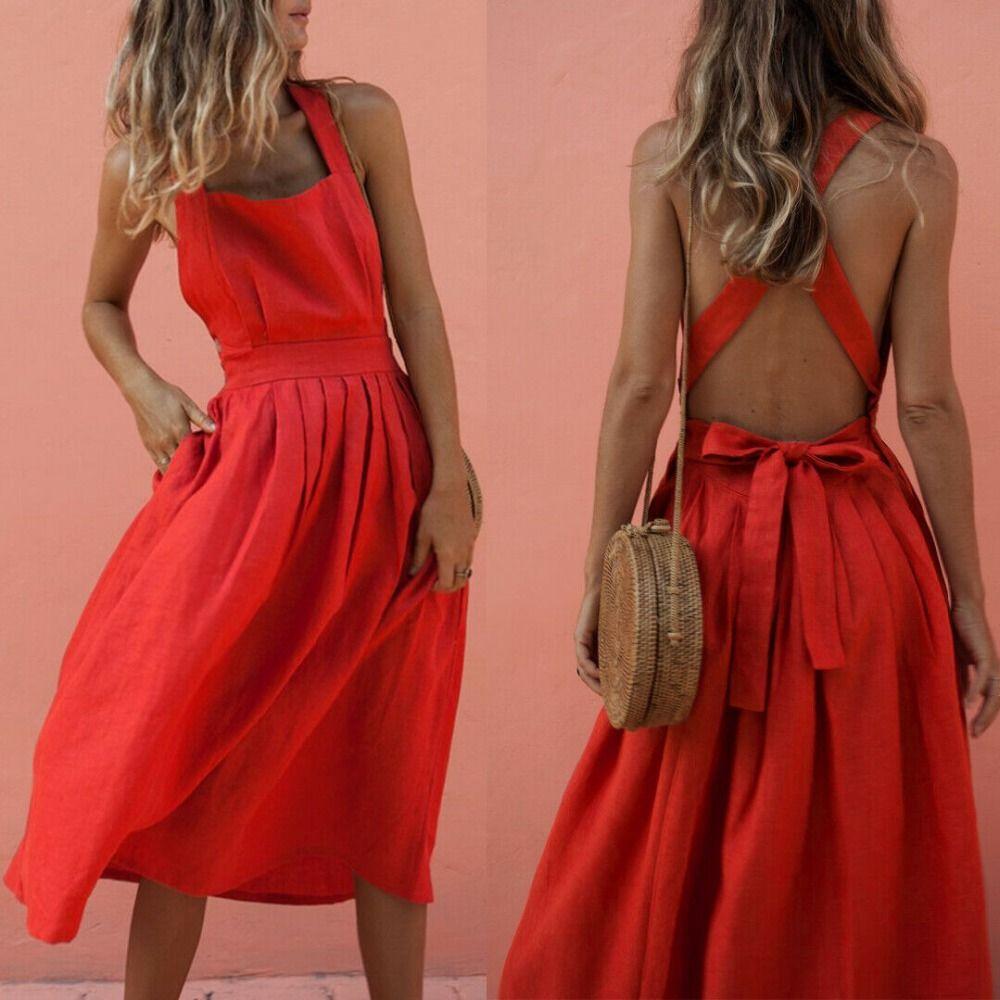 413145c95a Summer Women Boho Backless Sleeveless Long Red Dress Slim Evening Party  Beach Sundress Hot Strapless Dresses For Teens Purple Lace Maxi Dress From  ...