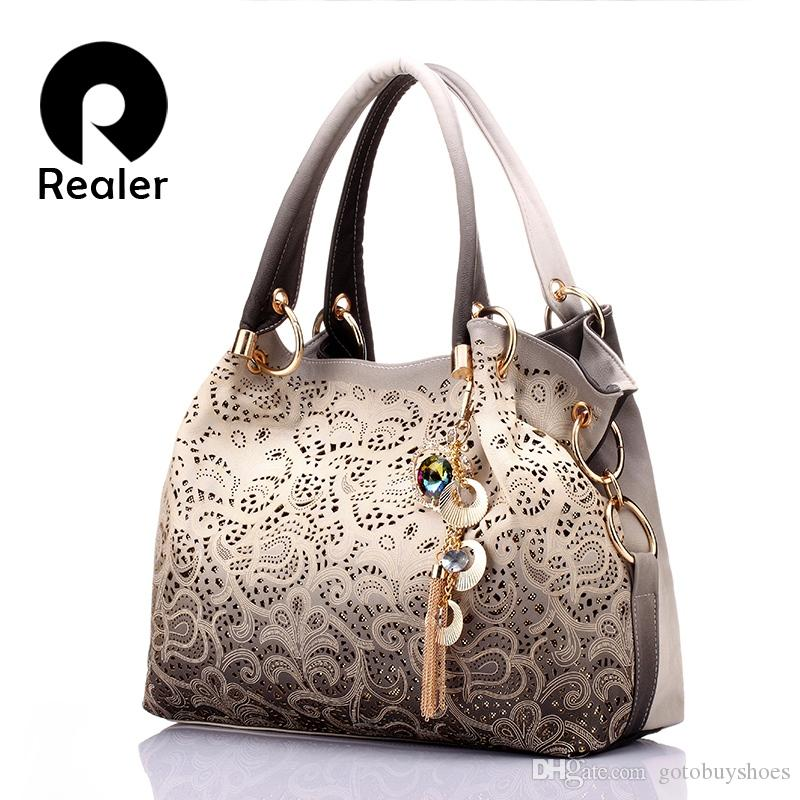 REALER brand women bag hollow out ombre handbag floral print shoulder bags ladies pu leather tote bag red/gray/blue #34100