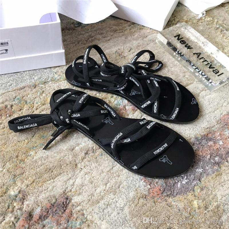 c9b4442e0 Luxury Designer Shoes LACE FLAT SANDALS Fashion Ladies Sandals Top Quality  With Of Color Laces Adjustable Straps To Change Styles Chaco Sandals Jack  Rogers ...