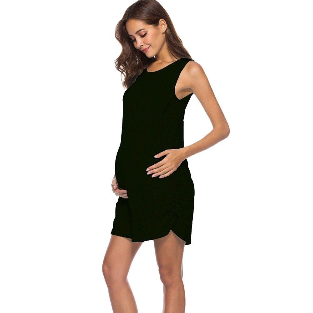 61a40d830 Compre MUQGEW Verano 2019 Mujer Mamá Vestido Embarazada Lactancia Bebé  Maternidad Chaleco Vestido Sin Mangas Ropa Ropa Para Mujeres Embarazadas A   36.14 Del ...