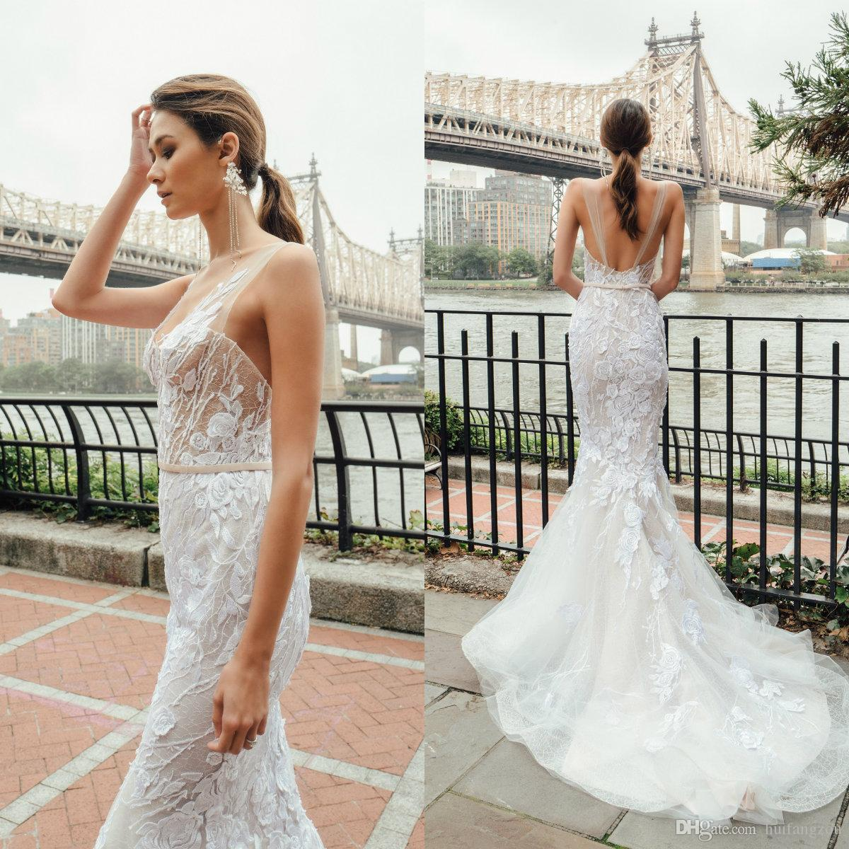 73528582e5c Mira Zwillinger 2019 Mermaid Wedding Dresses Sheer V Neck Lace Appliques  Summer Boho Wedding Dress Tulle Backless Bridal Gowns Custom Made Ball Gown  Casual ...