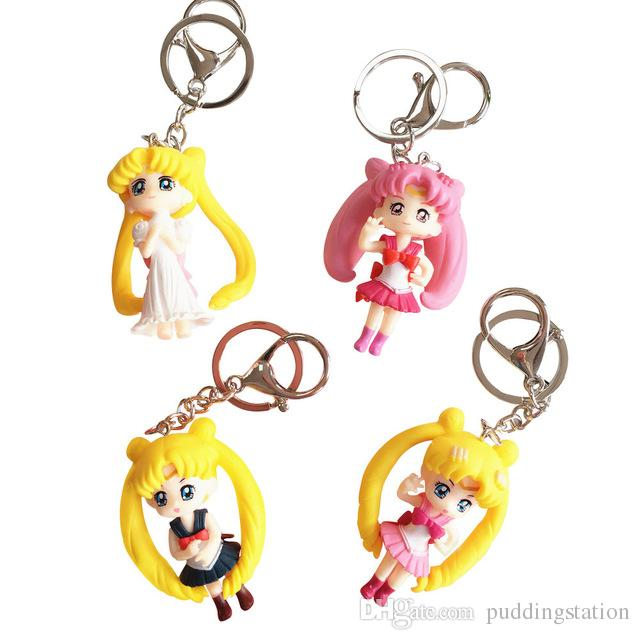 Lovely Japanese Style Yellow Pink Long Hair 3D Sailor Moon Keychain Key Rings for Women Girls Decoarate Cartoon Anime Keychain