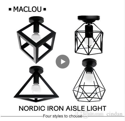 Vintage Iron Black Ceiling Light LED Shade Industrial Modern Ceiling Lamp Nordic Lighting Cage Fixture Home Living Room Decor