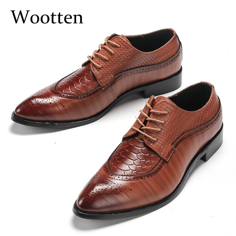 Mens Wedding Dress Shoes Casual Crocodile Genuine Leather Oxfords Shoes Bussiness Brogues Shoes Moccasins For Mens Party Shoes Products Are Sold Without Limitations Formal Shoes