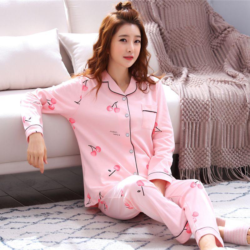 edb4971c8 Compre Pijama Mujer De Alta Qualidade Mulheres Pijamas Set Conjunto De  Roupas De Algodão Casa Pijamas Femme Senhoras Bonito Sleepwear Menina Manga  Comprida ...