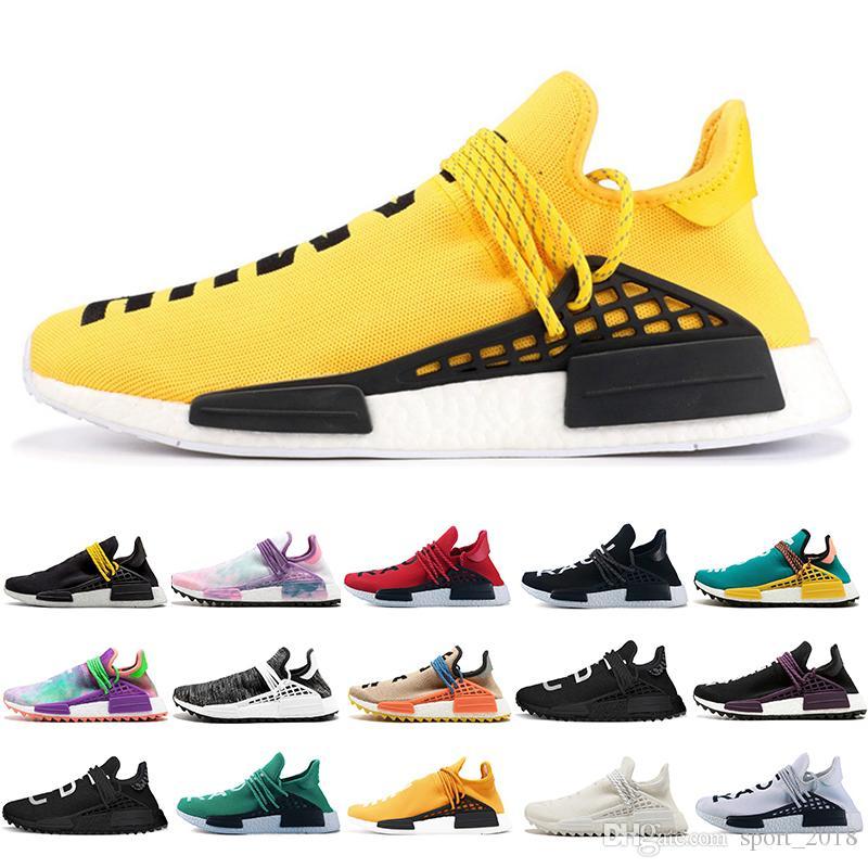 71a9e072c5766 2019 2019 Human Race Trail Running Shoes Men Women Pharrell Williams HU  Runner Nerd Yellow Black White Blank Canvas Sport Runner Sneaker From  Sport 2018