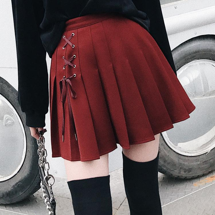 1d73d1a8c94a 2019 2019 Spring Summer Harajuku Gothic Girls Skirts High Waist Frenulum  Fashion Pleated Punk Women Skirt Short Black Red Mini Skirt From Chivalife,  ...