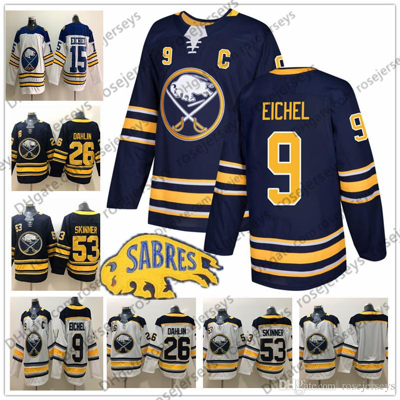 wholesale dealer e4ef6 4d12c 2019 Buffalo Sabres #9 Jack Eichel C Patch Jersey 26 Rasmus Dahlin 53 Jeff  Skinner Navy Blue Ryan O Reilly White Captain Men s Hockey