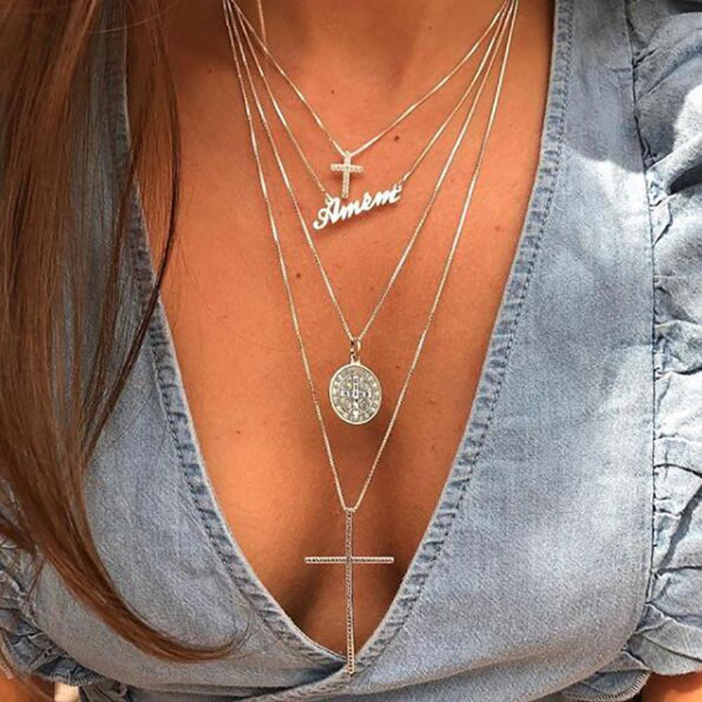 Women Boho Multi-layer Choker Long Chain Statement Necklace Pendant Jewelry Gift Jewelry & Watches