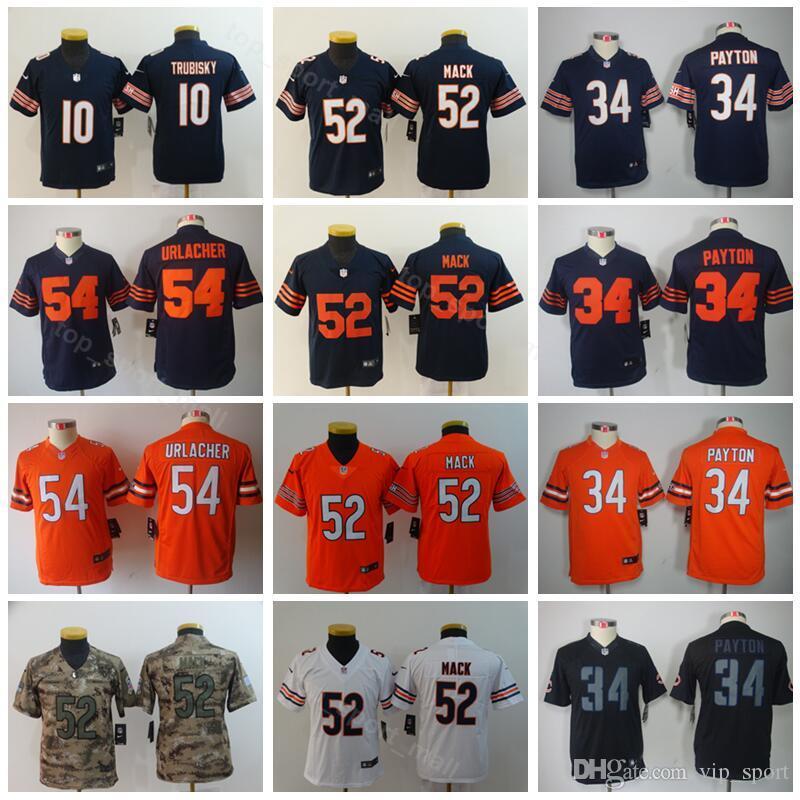 online store 951df bbec3 Chicago Youth Bears Jersey Kids 10 Mitchell Trubisky 34 Walter Payton 52  Khalil Mack Children Jerseys Dark Blue Orange White