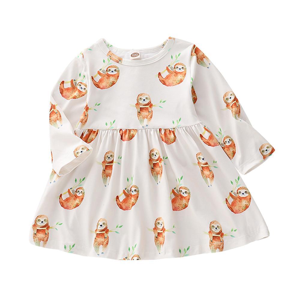 f379c000720 2019 Mikrdoo Newborn Baby Girls Sloth Print Long Sleeve Cartoon Dress Infant  Boy Sleeveless Romper Sloth Print Cute Clothing From Mikrdoo