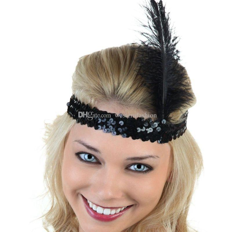 0921466953e1c 2019 Ostrich Feather Headhand 1920s Flapper Headband Flapper Women S ...