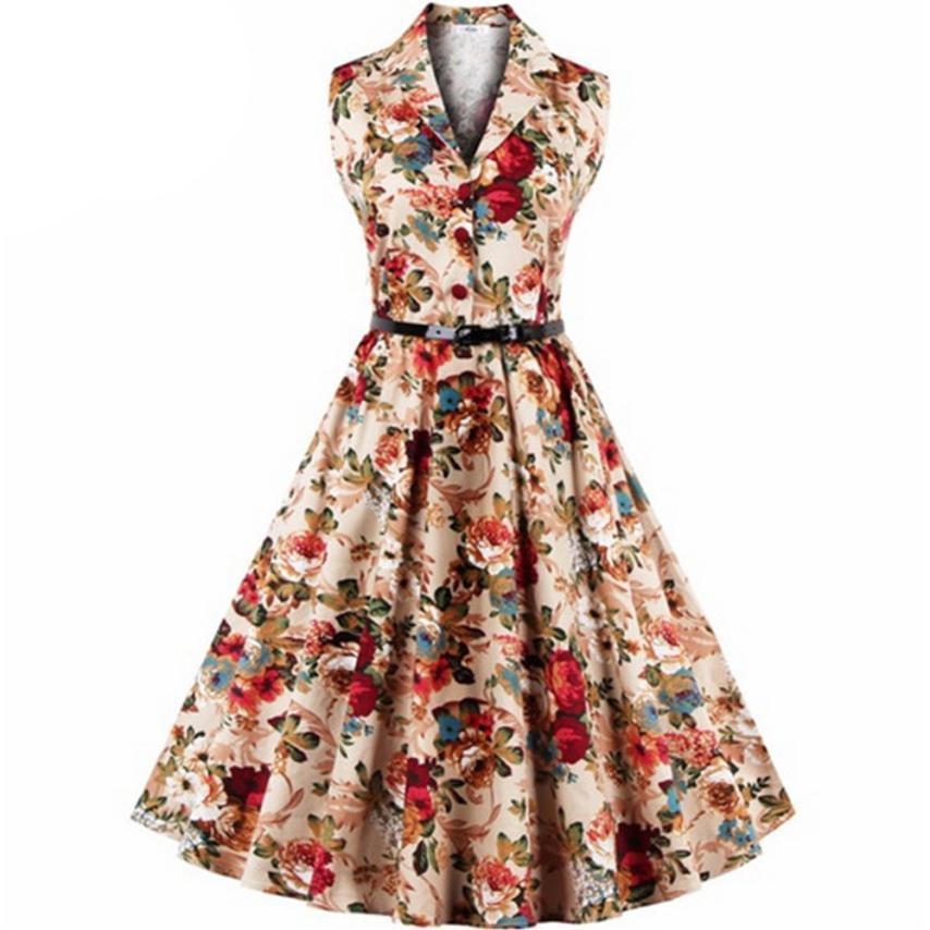 Party Summer Dress 2019 Plus Size Dress Print Pleated Sleeveless ...