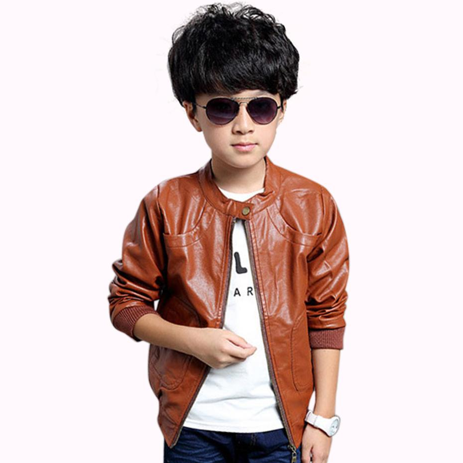 3cf1f6b31930 Boys Jacket PU Leather Solid Coat For Boys Long Sleeve Child Clothes ...