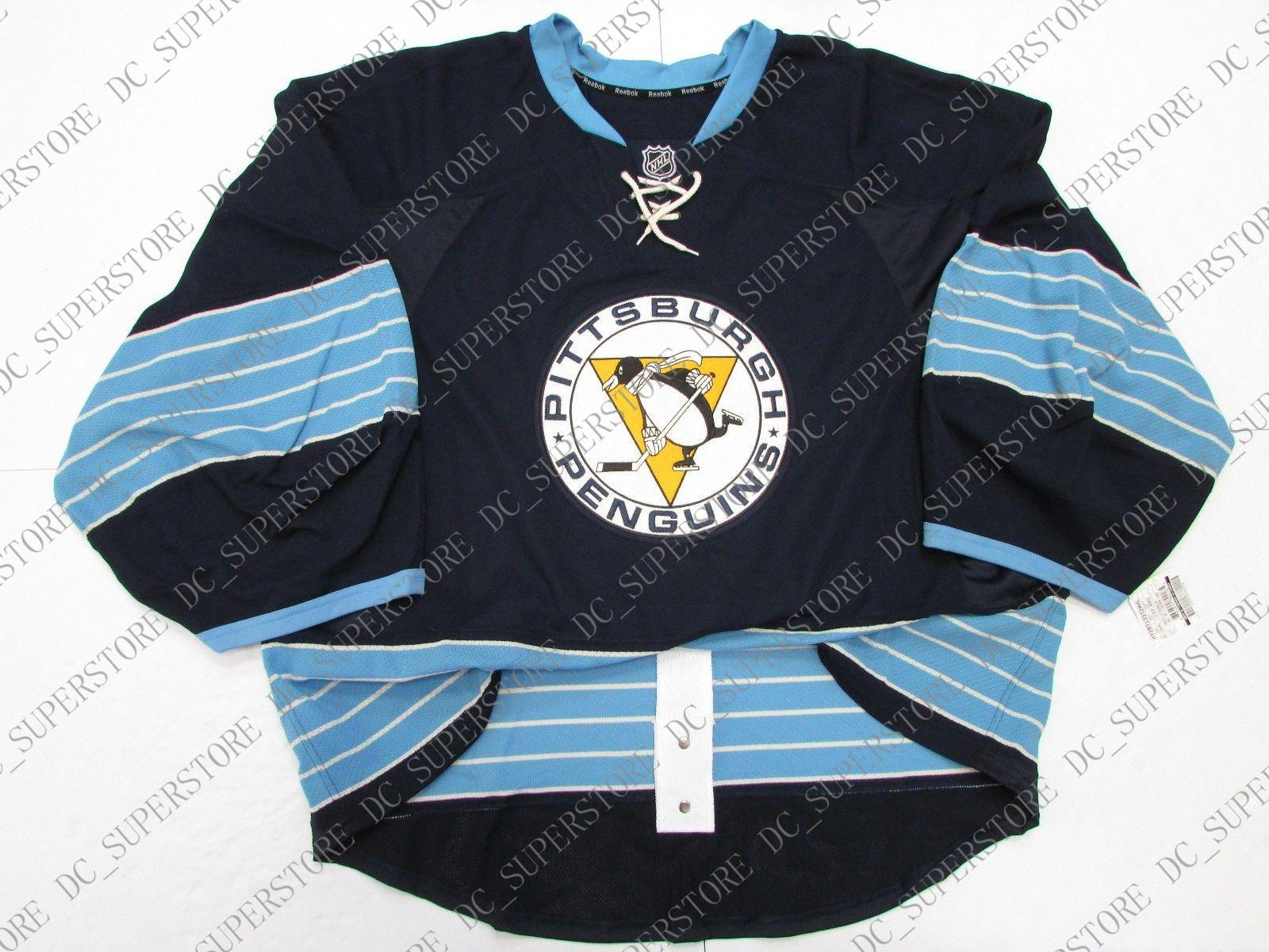 on sale f9fa5 1fc9d Cheap custom PITTSBURGH PENGUINS THIRD JERSEY GOALIE CUT stitch add any  number any name Mens Hockey Jersey