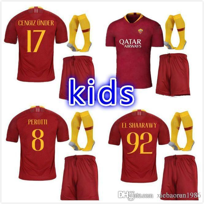 sale retailer 66f60 c5928 roma SOCCER Jerseys kids KIT TOTTI DE ROSSI new arrive 18 19 HOME RED kit  DZEKO EL Shaarawy 2018 2019 roma kids kit football soccer Jerseys