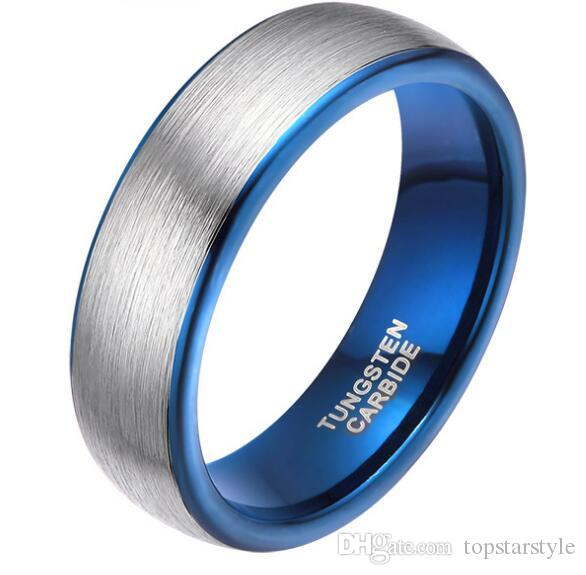6mm Dome Blue Tungsten Ring with Silver Brushed Top surface wedding ring high polished comfort fit fashion jewelry ring