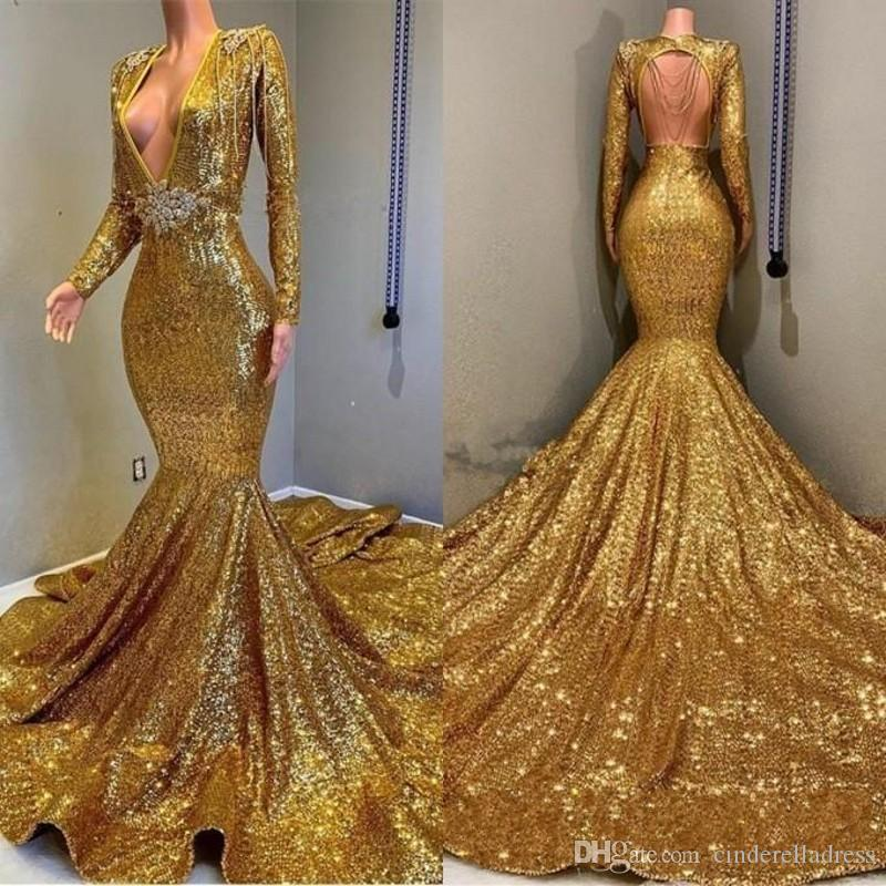 2019 Vintage Golden Long Sleeves Sequin Mermaid Prom Dresses Beaded Stones Backless Sweep Train Vestidos de Festa Party Evening Gowns BC0577