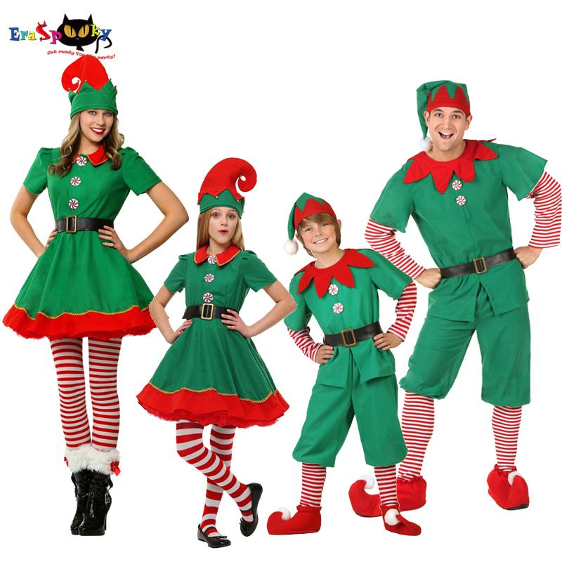 d793c67f9ba heap Holidays Costumes Green Christmas Elf Costumes Adult Santa Claus  Cosplay Family Matching Clothes Kids Carnival Dress Girls New Year ...