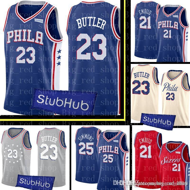 f06087c0 2019 76ers Jimmy 23 Butler Jersey Mens Joel 21 Embiid Ben 25 Simmons 20  Markelle JJ 17 Redick Basketball Jerseys Embroidery Logos From  Big_red_shop, ...