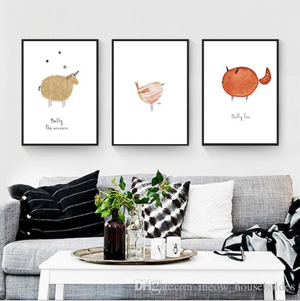 Triple decorative paintings Cartoon Animal Decoration Painting Abstract animal bedroom porch restaurant with framed cartoon murals