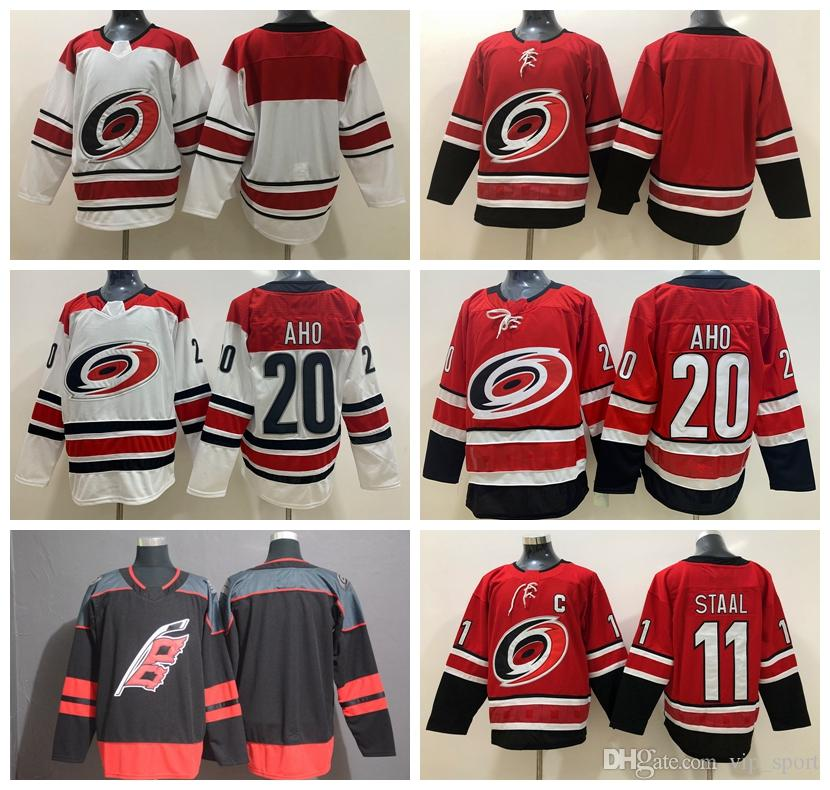 buy popular 222a4 9c720 2019 Ice Hockey Men 20 Sebastian Aho Carolina Hurricanes Jerseys 11 Staal  Red White Black Home Away Breathable Embroidery And Sewing