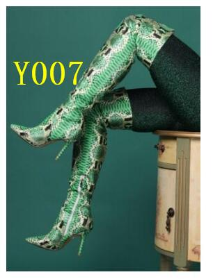 Sexy Green Snake Print Leather Over Knee Boots Womens Pointed ToeThigh High Boots Zipper Fashion Winter Long High Heel