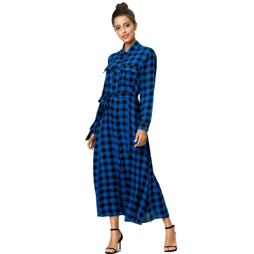 468f70df643 Cheap Es Women Maxi Dress Plaid Print Long Dresses Feminine Long Sleeve  Shirt Muslim Kaftan Caftan Fashion Dress Female Womens Dresses Red Prom  Dresses From ...