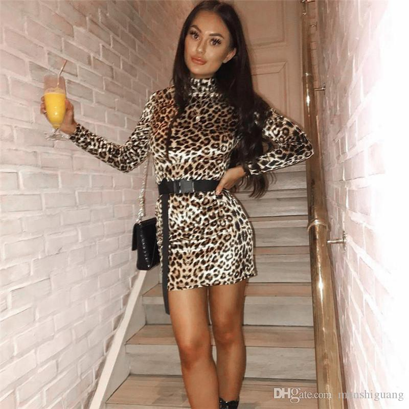 7eb9ffe651a European and American fashion trend 2018 winter new women s high collar long  sleeve warm sexy leopard print hip dress female