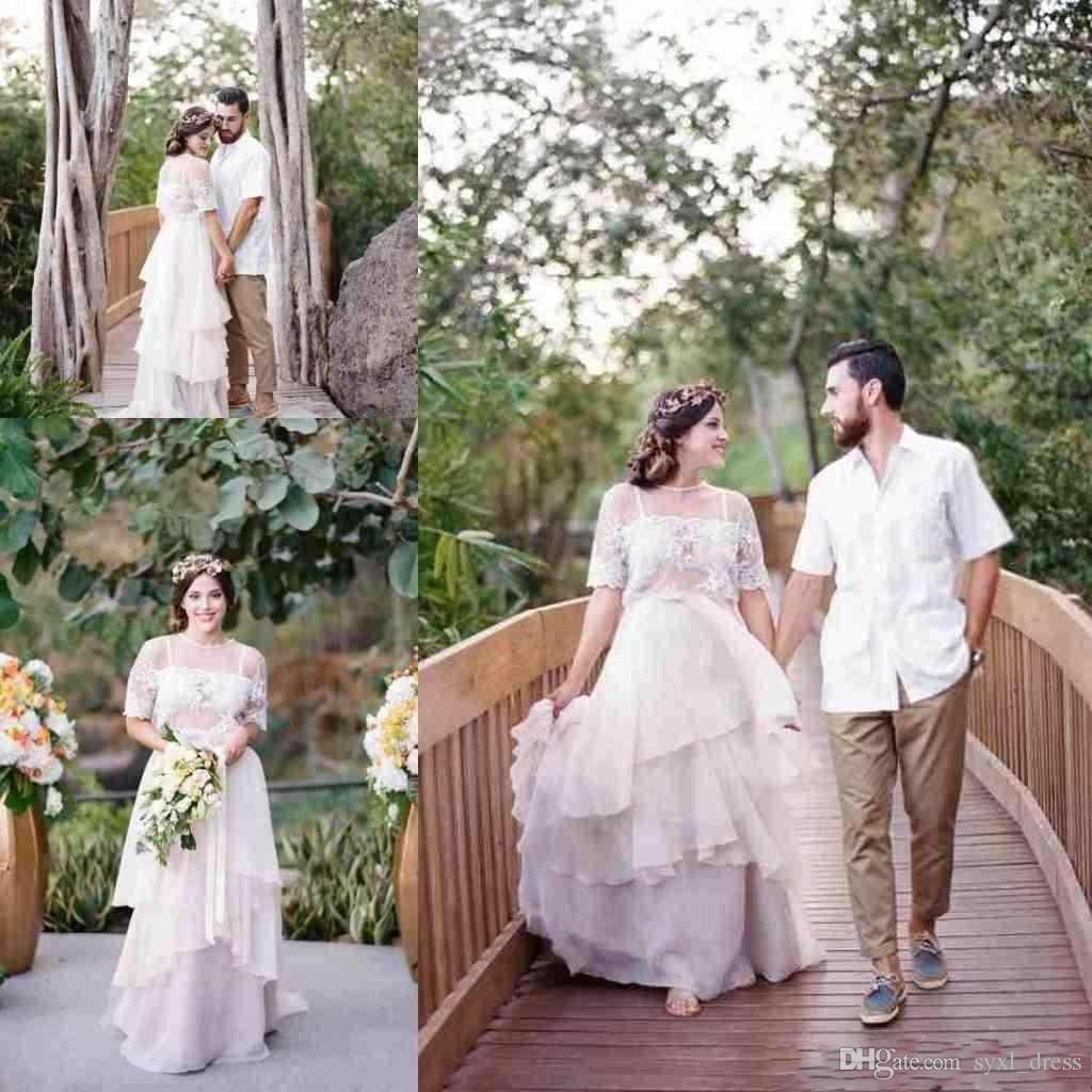 9302f1ad8ac35 Discount Vintage 2019 Plus Size Beach Lace A Line Wedding Dresses Bridal  Gowns Vestido De Novia Tiered Chiffon Jewel Capped Half Sleeve Custom Made  ...