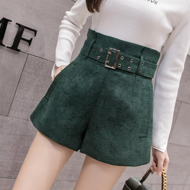 be1324de1d5f Шорты с высокой талией женские корейские элегантные линии широкие брюки  шорты 2018 ...