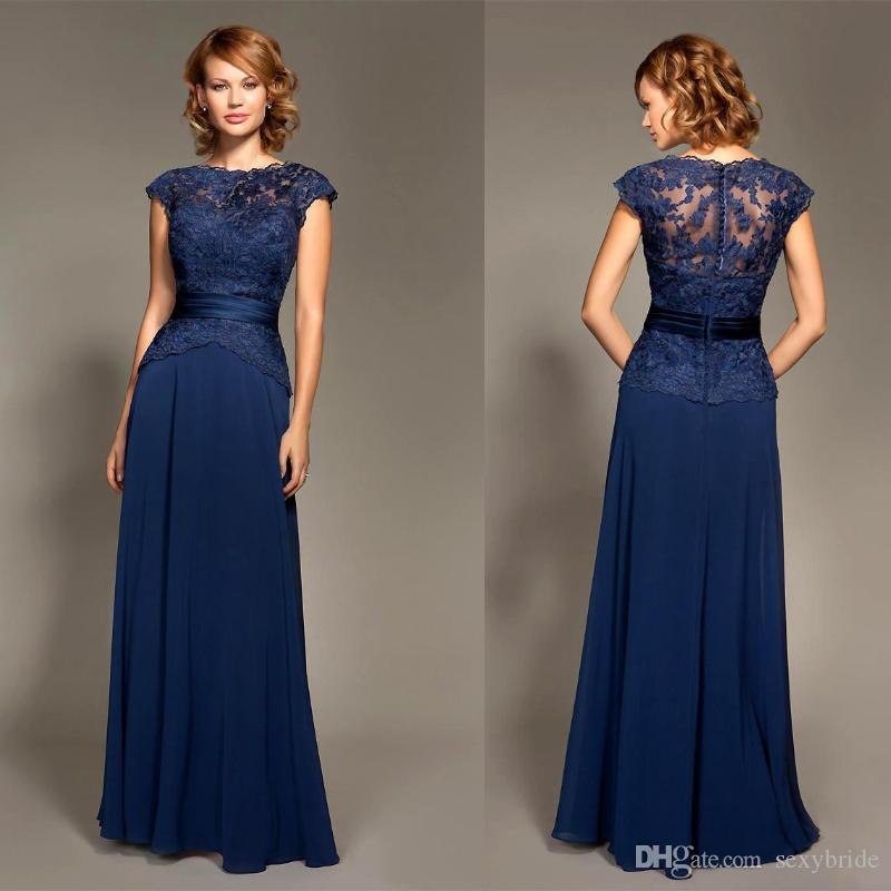 b44f3a4899 Mark Lesley Navy Blue Bridesmaid Dress Lace Chiffon Long Formal Maid Of  Honor Dress For Wedding Party Gowns Wedding Guest Dresses Girls Bridesmaid  Dresses ...