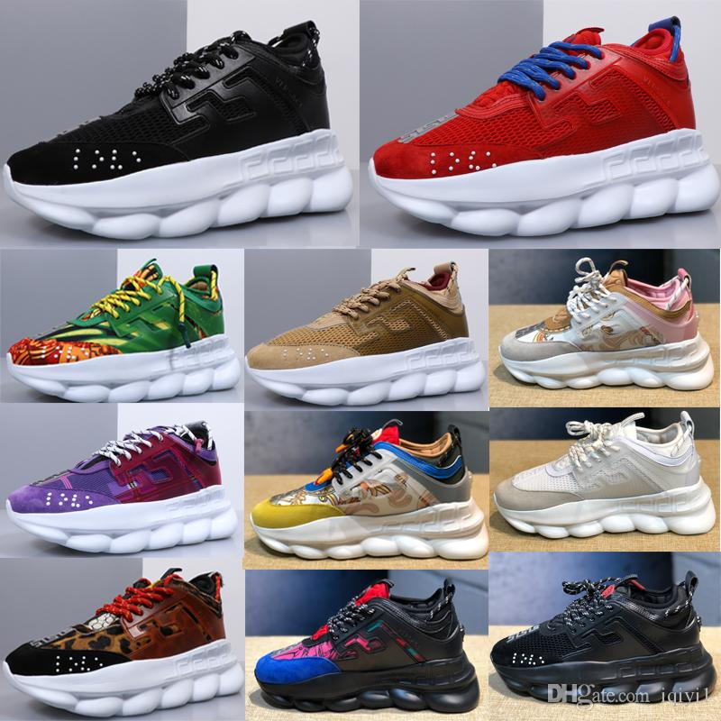Versace 2019 original designer Chain Reaction chain reaction men shoes  running shoes luxury brand ladies sports casual Girl shoes