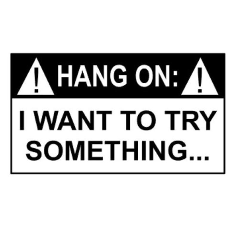 Hang On I Wanna Try Something Motorcycle SUVs Bumper Car Window Car Stylings Vinyl Decals