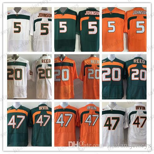 various colors c302f 5a29f NCAA Miami Hurricanes Jerseys Mens 5 Andre Johnson 20 Ed Reed 47 Michael  Irivin All Stitched College Football Jerseys High School University