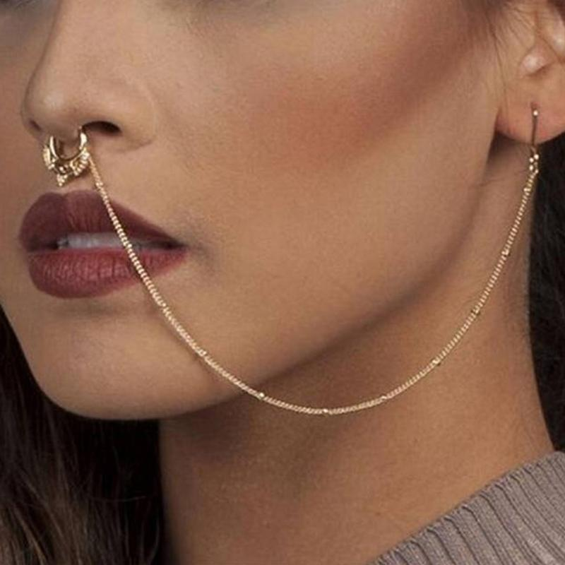 Silver Gold Fashion Alloy Hollow Fake Nose Rings With Chain Ear Chain Long Dangle Nose Earrings For Women Body Jewelry