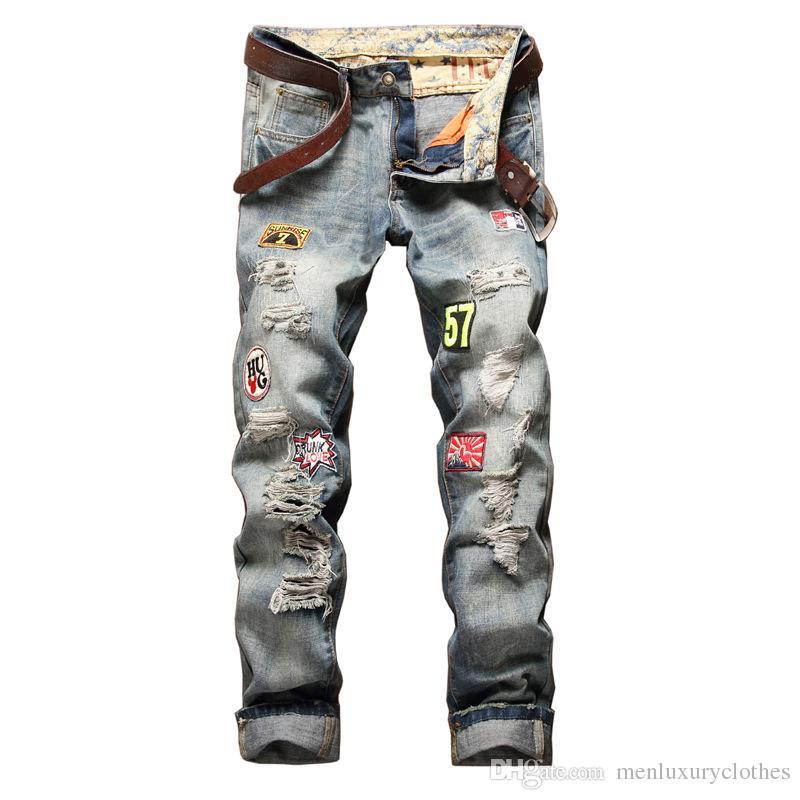 7618b9404df65 Compre Diseñador Para Hombre Pantalones Vaqueros Rotos Moda Recta Slim Fit  Hombre Adolescente Skateboard Rapper Hihop Jeans Pantalones A  59.95 Del ...