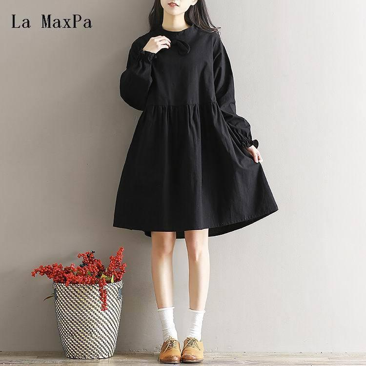 Japanese Mori Girl Dress 2019 Spring New Women Literary Loose Stand Collar Bowknot Black Color Cotton Linen Dress Robe Vestidos Q190419