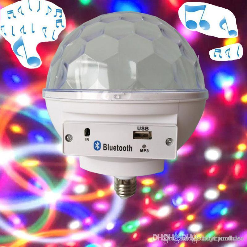 E27 RGB LED Bluetooth Speaker Lamp Music Center Party Magic Ball Bulb Light Living Room Decoration Disco Effect Lighting