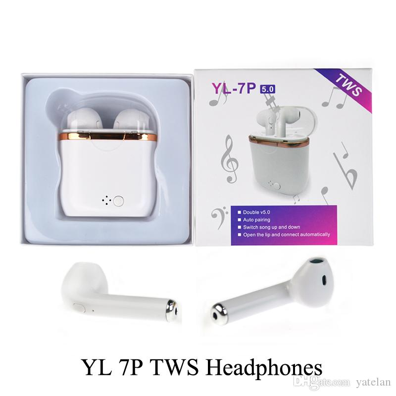 YL-7P TWS Wireless Bluetooth Earbuds Earphones With Charger Box Double V5.0 Stereo Wireless Ear buds Headset Headphones For iOS Android