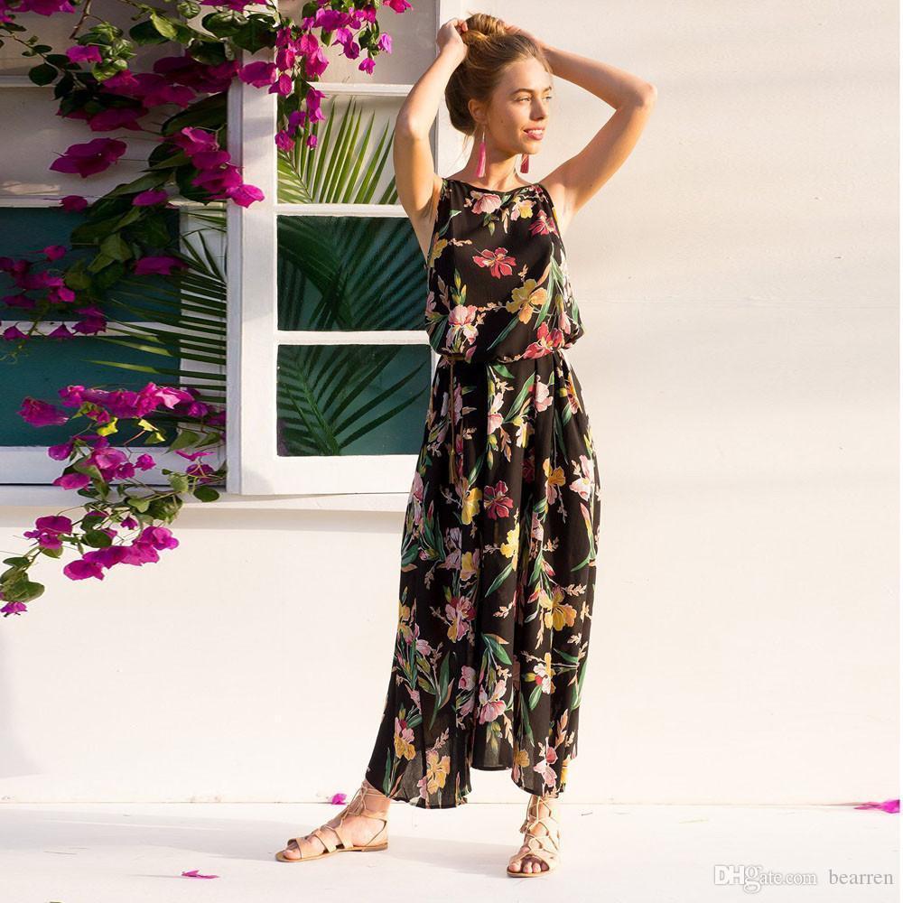 c7a383ea4 Nuevo 2018 Mujeres Maxi vestido Boho Floral Summer Beach vestidos largos  vestidos de fiesta de alta calidad Robe Longue Femme