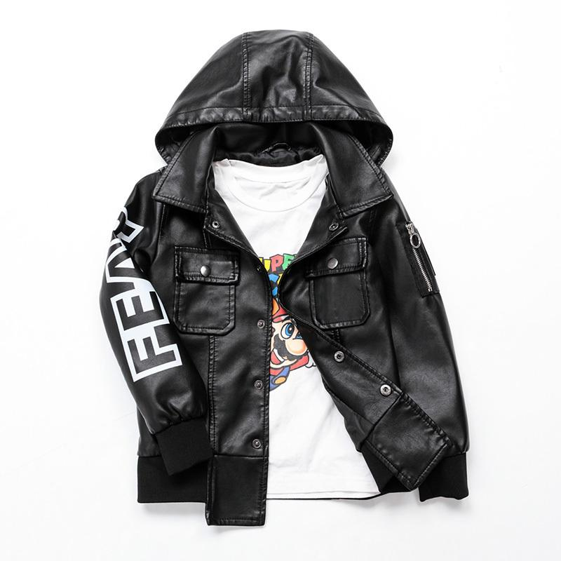 9ca2f8831190 Faux Leather Jacket Kid Boy Autumn Winter Teenage PU Leather Coat ...